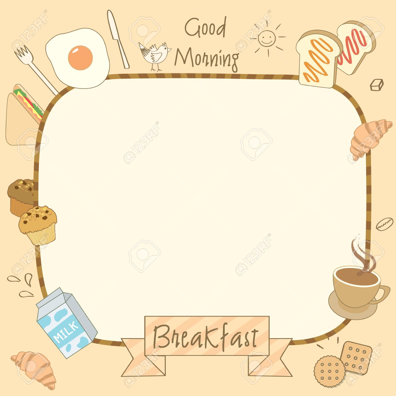drawing of food and drink breakfast for menu template. royalty free