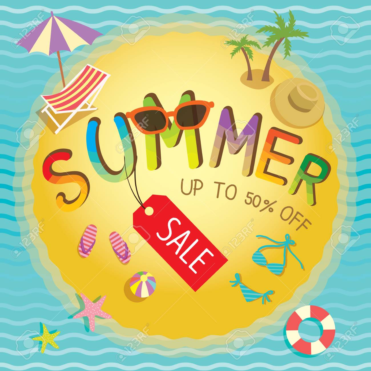 53d928389cb19 Summer Sale Banner With Sea And Beach Element. Royalty Free Cliparts ...