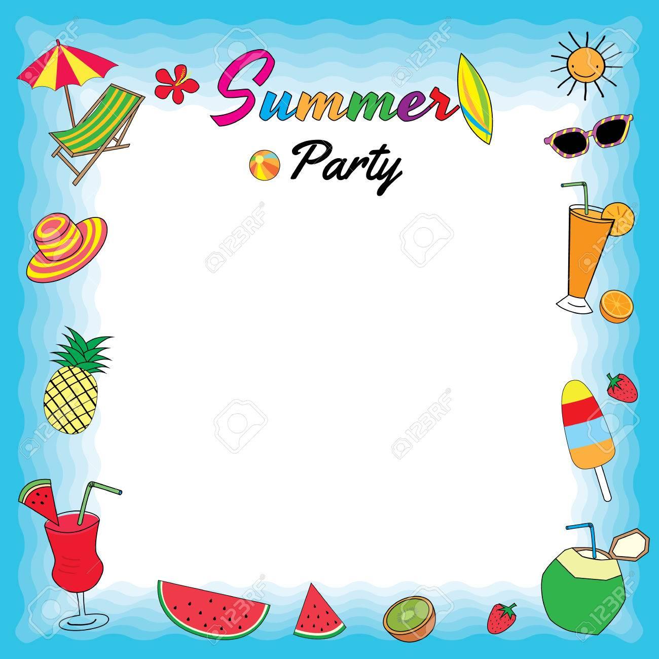 Banque d\u0027images , Dessin vectoriel d\u0027illustration des fruits d\u0027été de  symbole, dessert, smoothie et accessoire de plage pour le modèle.