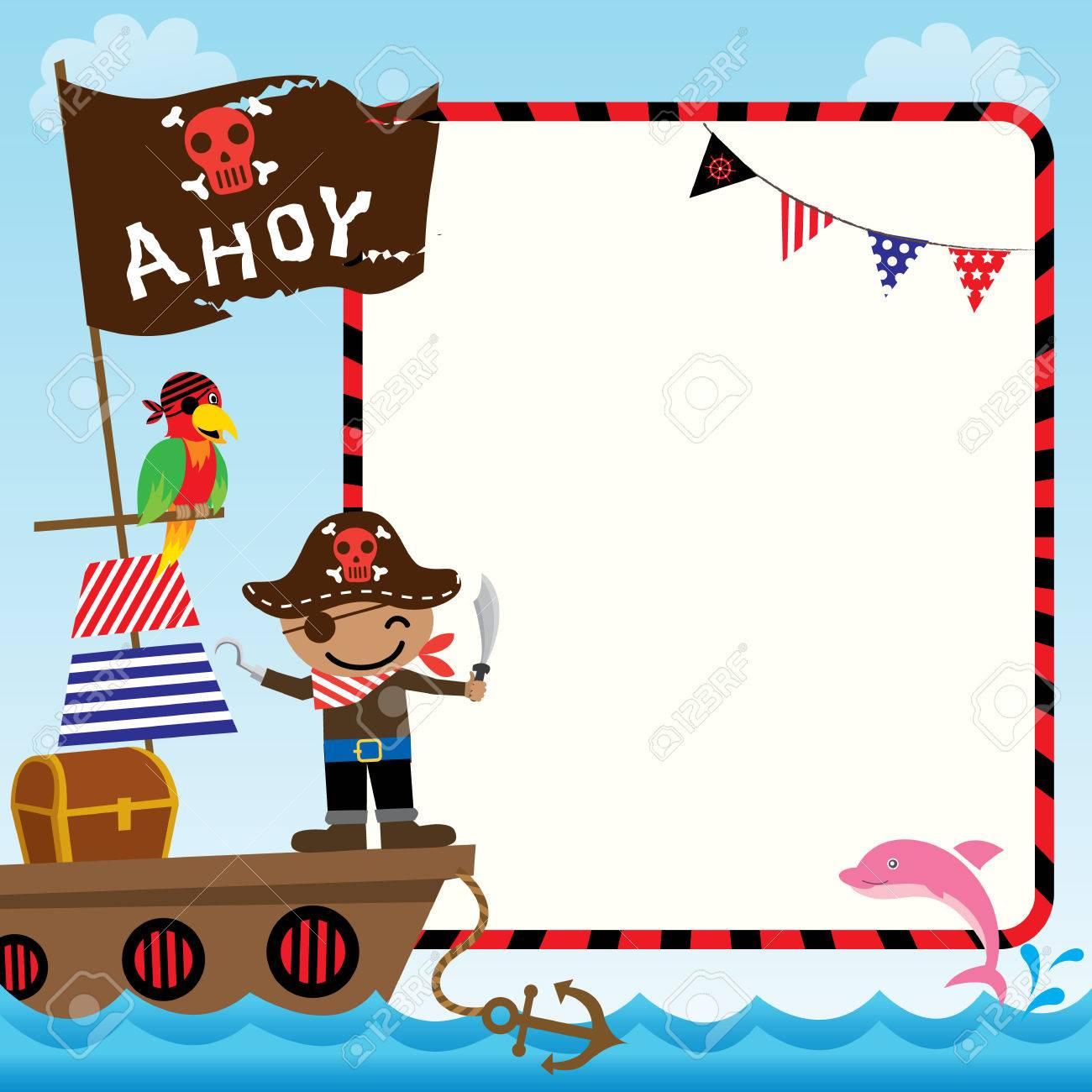 Vector De La Ilustración De Niños Lindos Del Pirata Con La Nave En ...