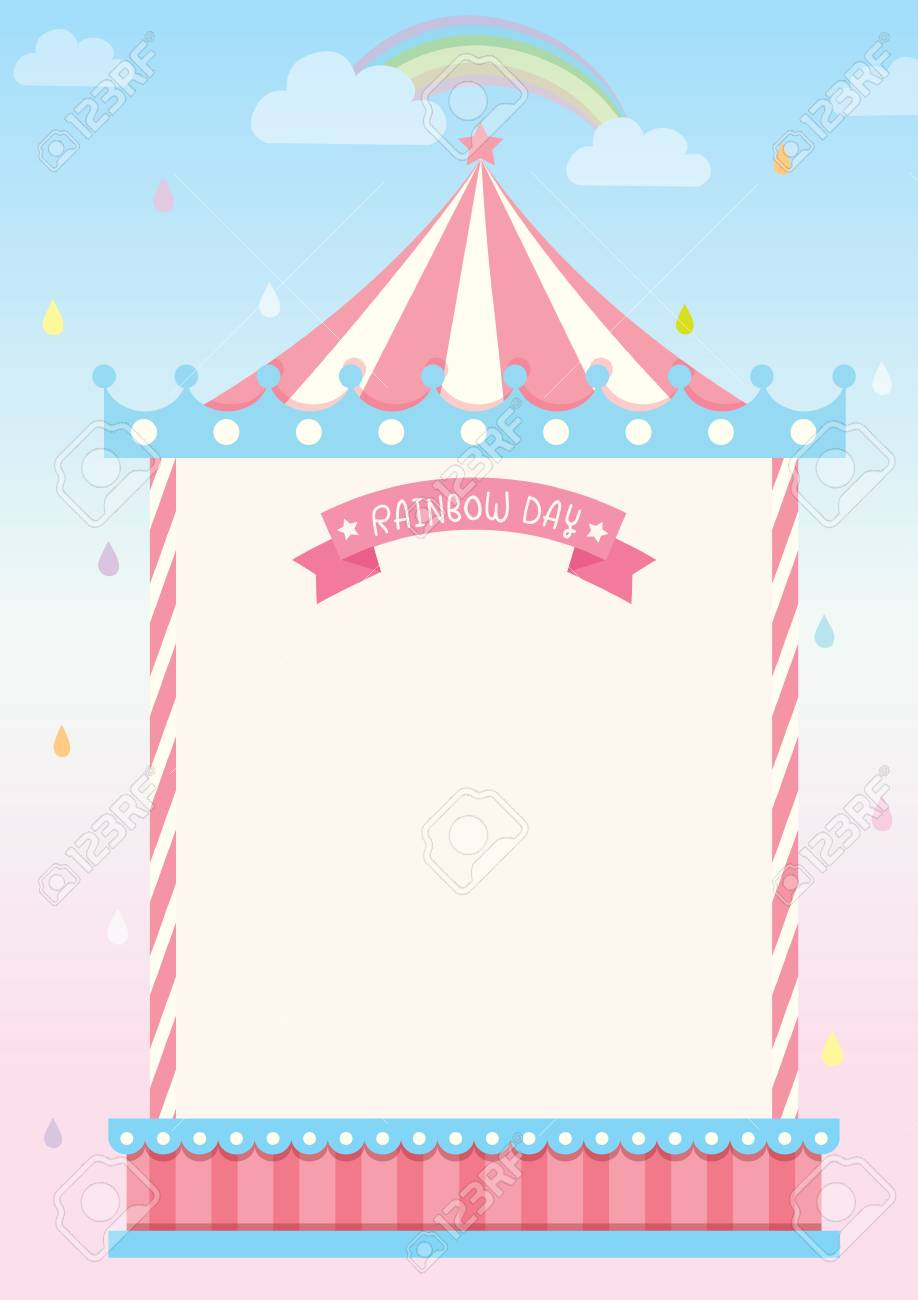 Circus Template Frame For On Rainy Background With RainbowBlank Your Message