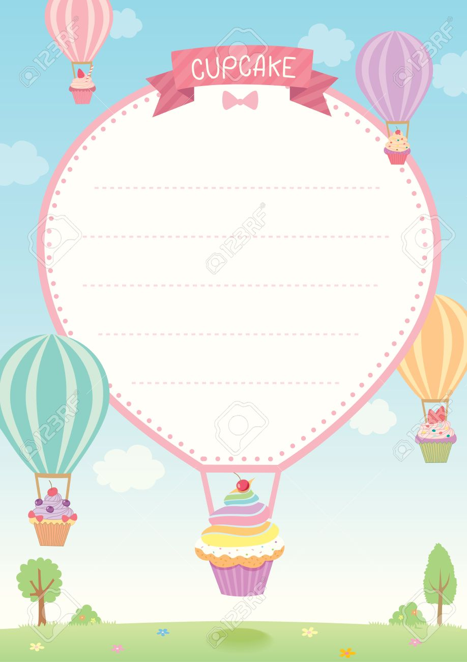 Cute cupcakes decorated with hot air balloon flying on sky background..