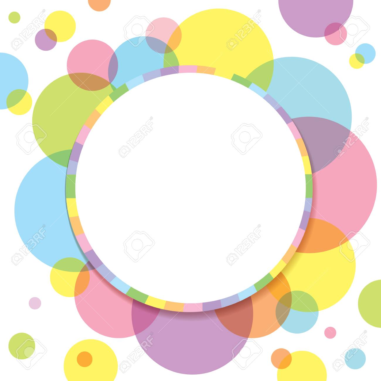 Colorful Circle Decorated To Flower With Rainbow Frame For Template ...