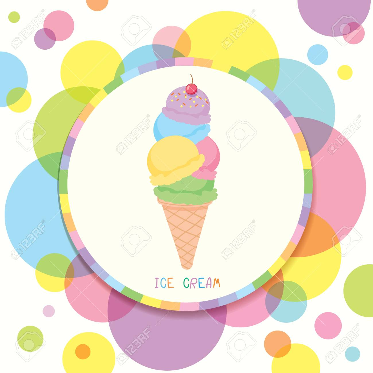 Ice Cream Cone Various Flavors Decorated With Circle Colorful