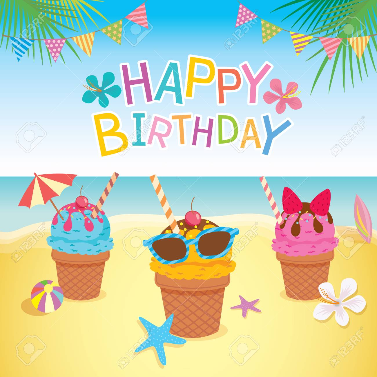 Happy Birthday Card Design With Ice Cream Decorated To Summer Season On Beach Background Stock