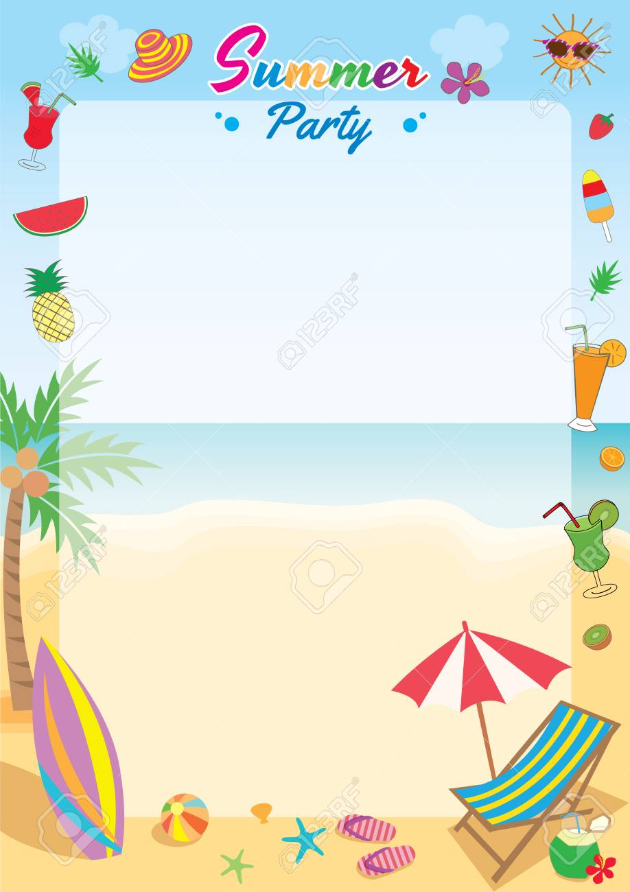 Illustration Vector Symbol Of Summer Party Decorated To Frame ...