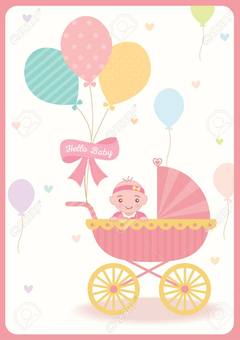 Cute Baby Girl Shower Greeting Card For New Born Decorated With