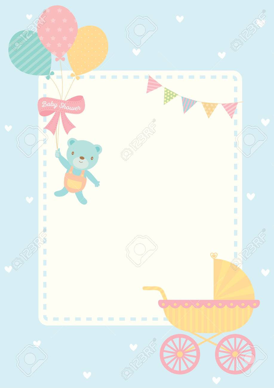 Cute Baby Shower Greeting Card For New Born Decorated With Baby