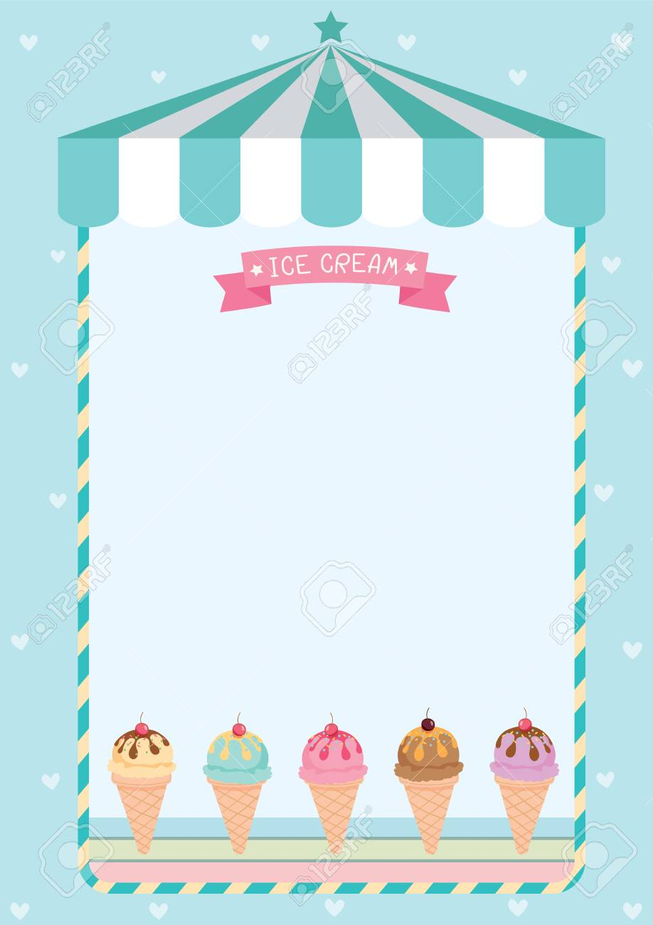 Ice Cream Menu Template On Green Background Cafe. Royalty Free ...