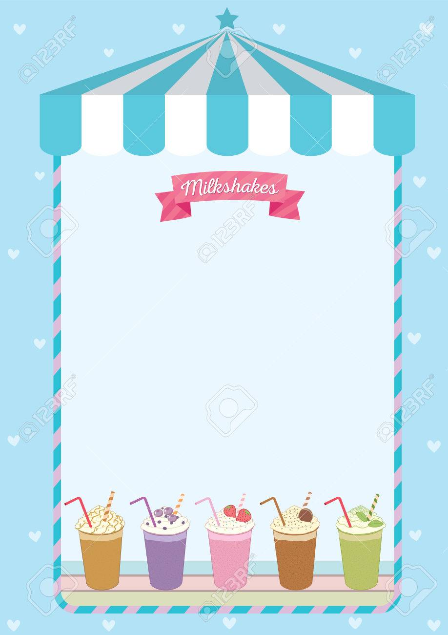 milkshakes menu template decorated on blue cute cafe background
