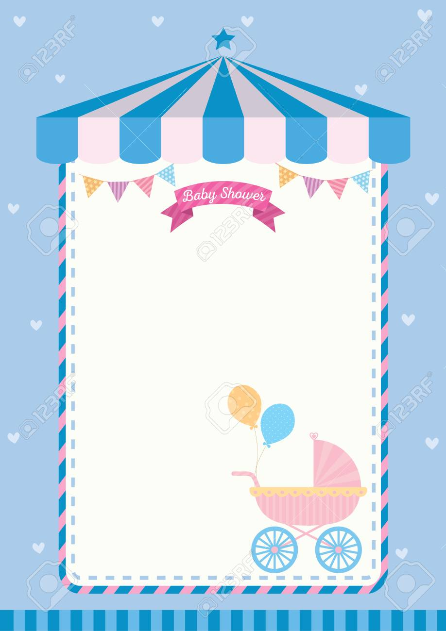 Baby Shower Invitation Cute Template Card For New Born Design