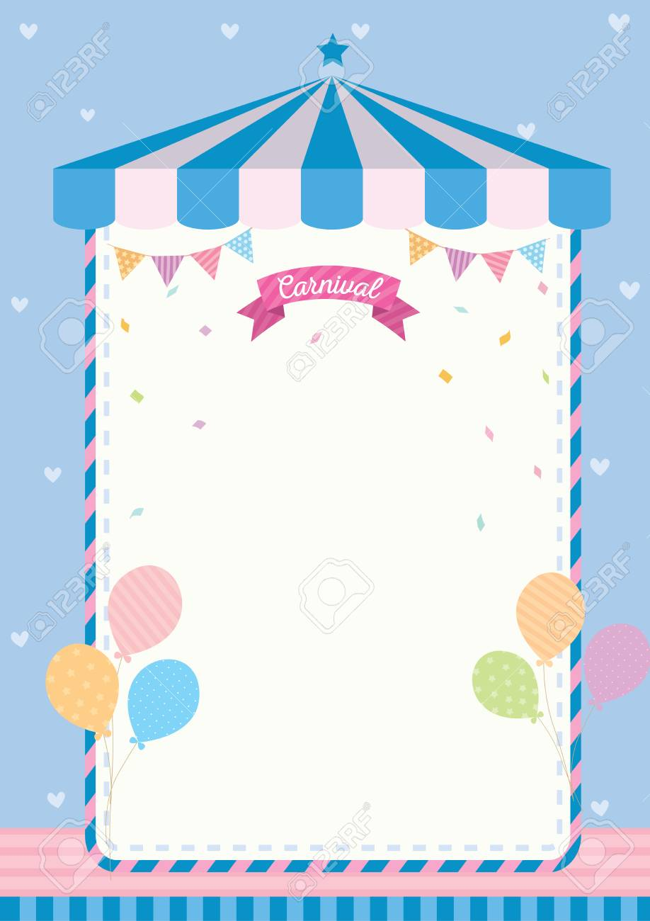 cute carnival template decorated with circus tent buntings and