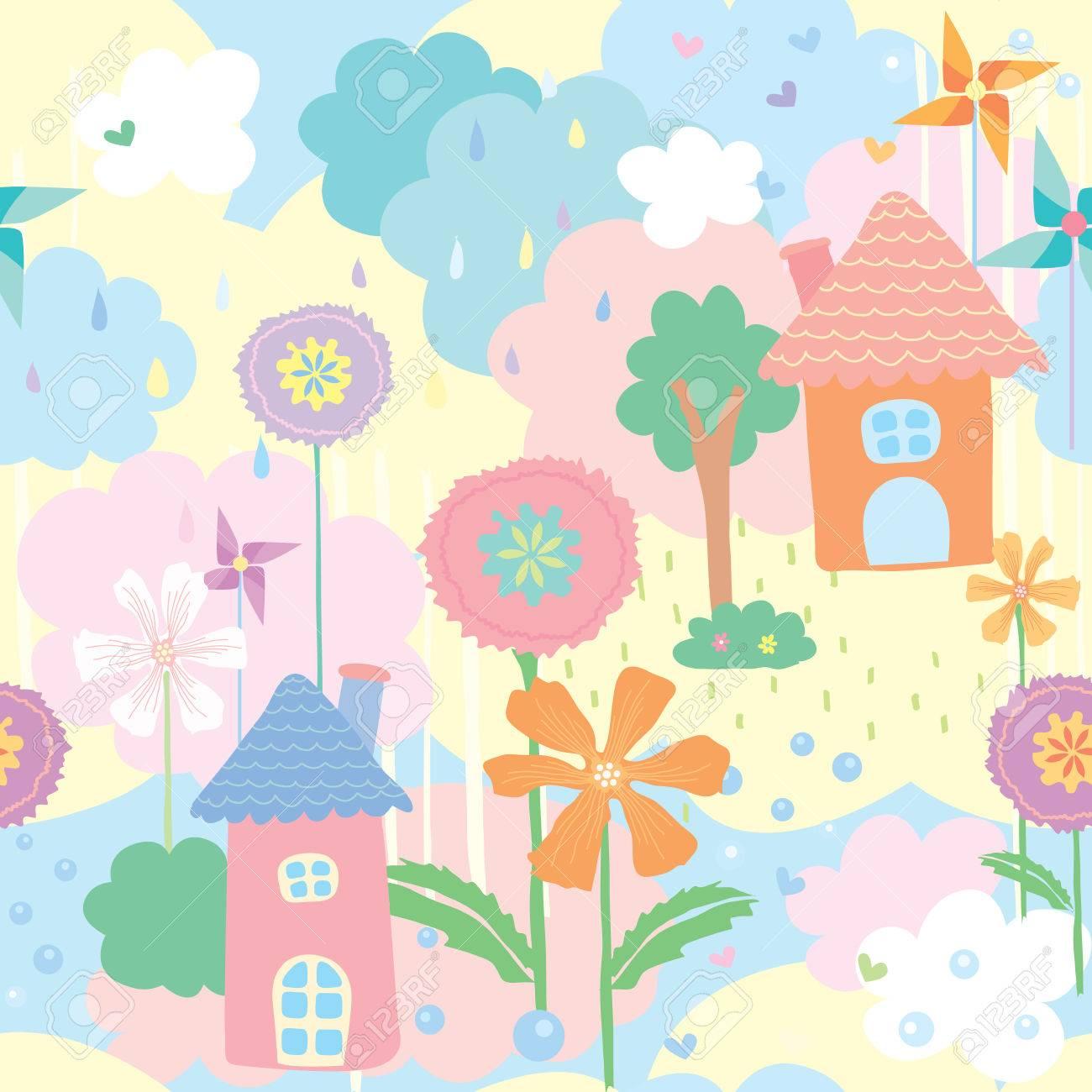 家 花 木のかわいいのシームレス パターン壁紙パステル カラーの自然