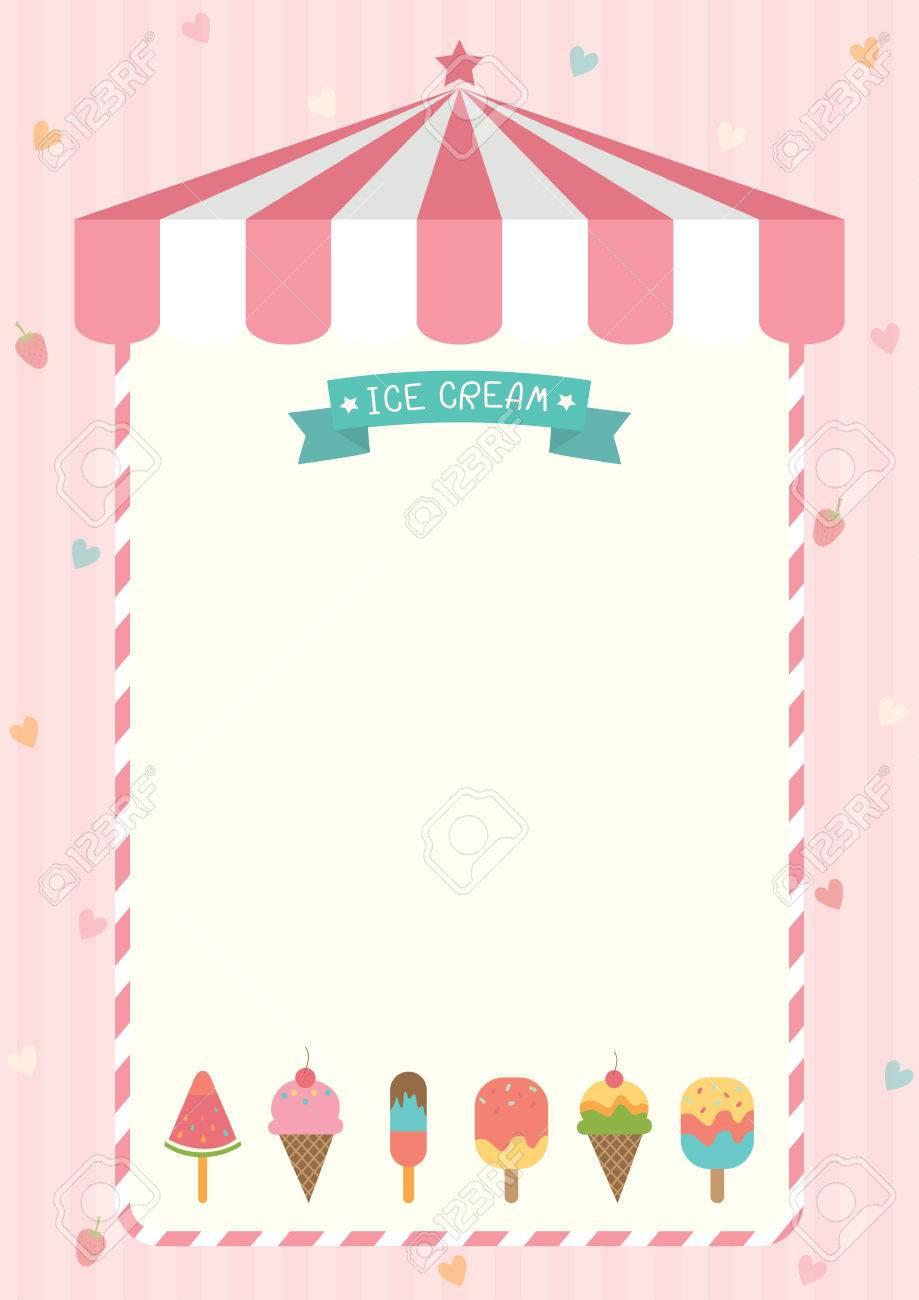 Eistüte Und Bar Verschiedene Geschmacksrichtungen Mit Rosa Shop ...