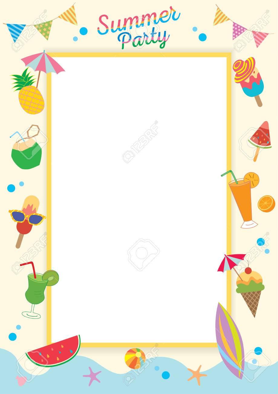Sommer-Party-Design Für Schablone Rahmen Verziert Mit Eis, Früchte ...