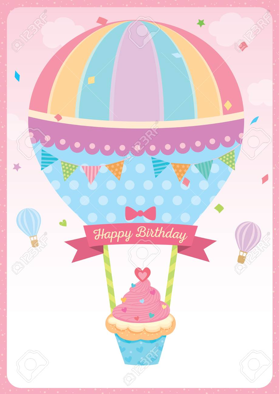 Cute Cupcake With Balloon Design For Happy Birthday Card On Pink Sky Background Standard