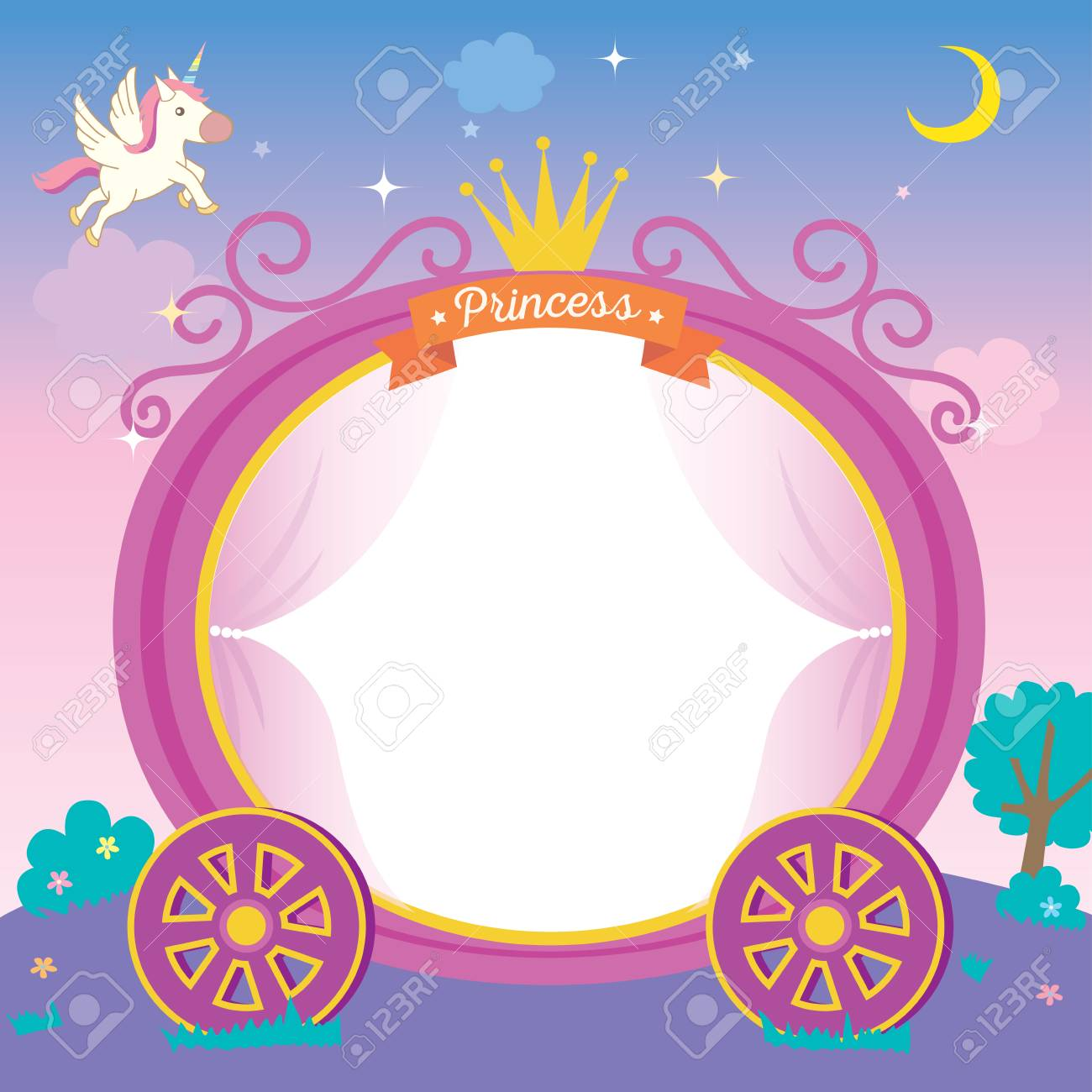 Illustration of cute princess cart template on night background with unicorn stars and moon. - 113092130