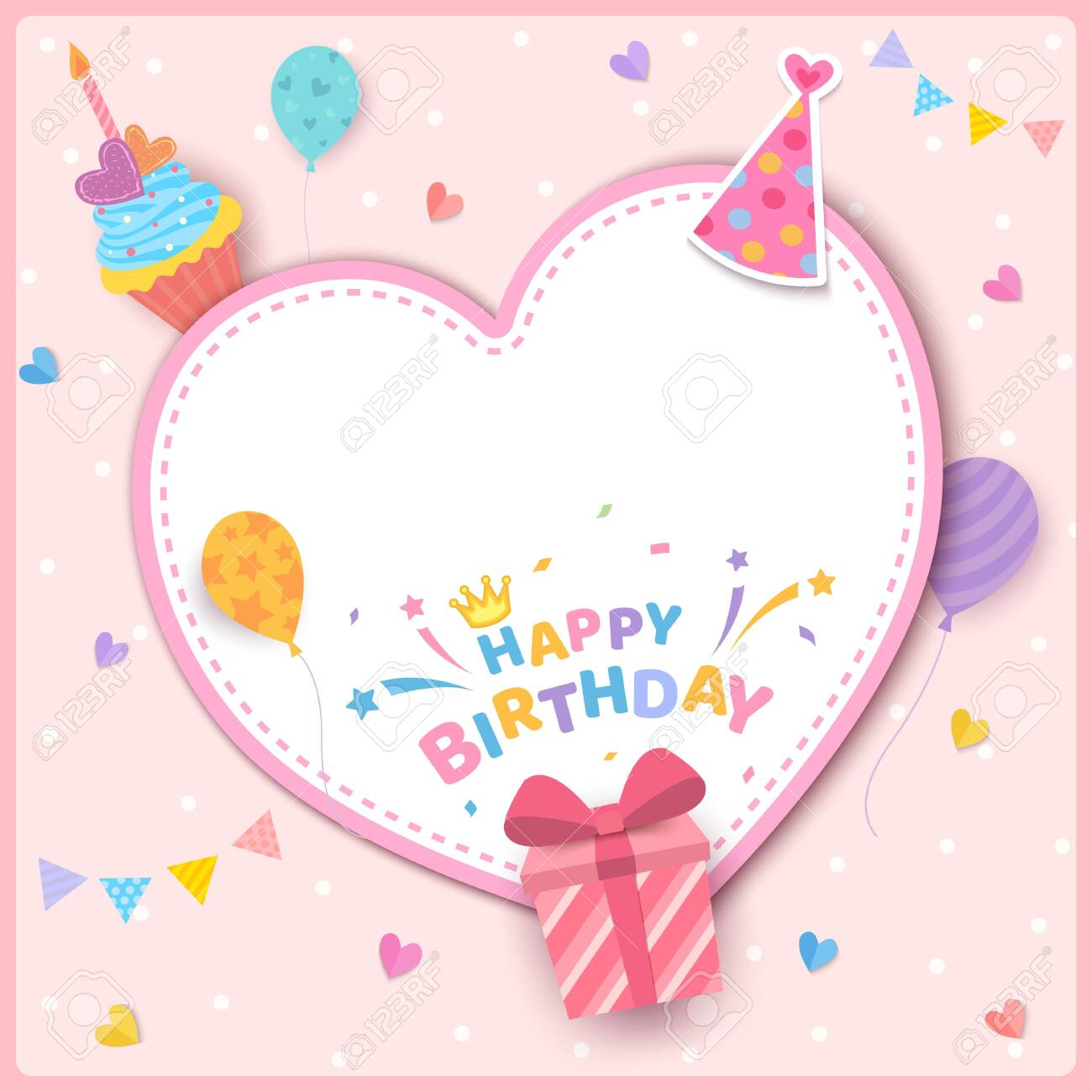 Incredible Happy Birthday Greeting Card Design With Heart Frame Decorated Funny Birthday Cards Online Fluifree Goldxyz