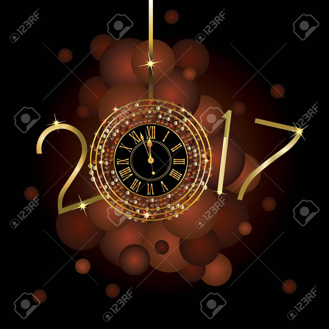 Clock with new year numerals on a black background with copper clock with new year numerals on a black background with copper and gold color bubbles stock buycottarizona Image collections