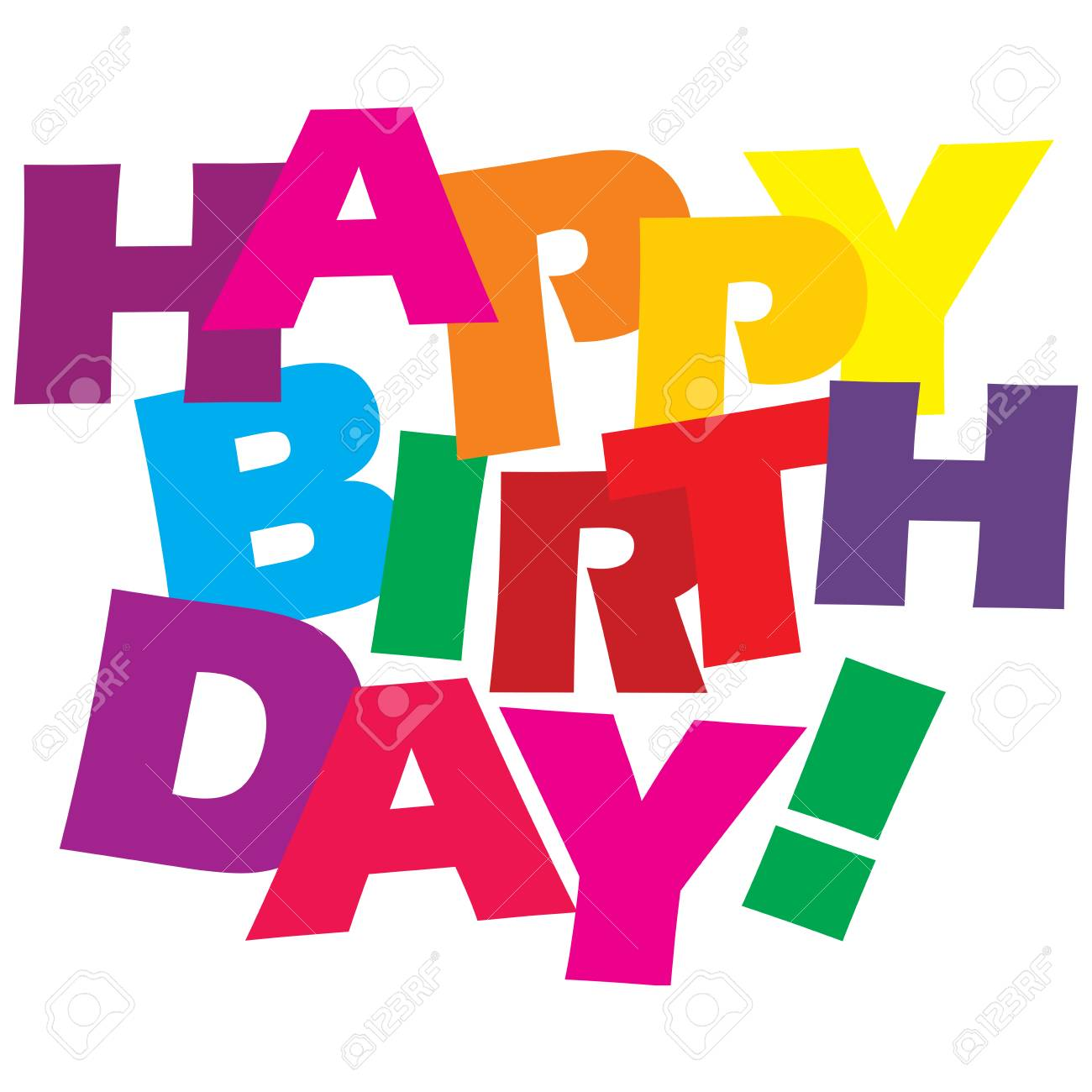 birthday colors Typographic Illustration Of Happy Birthday In Bright Happy Colors  birthday colors