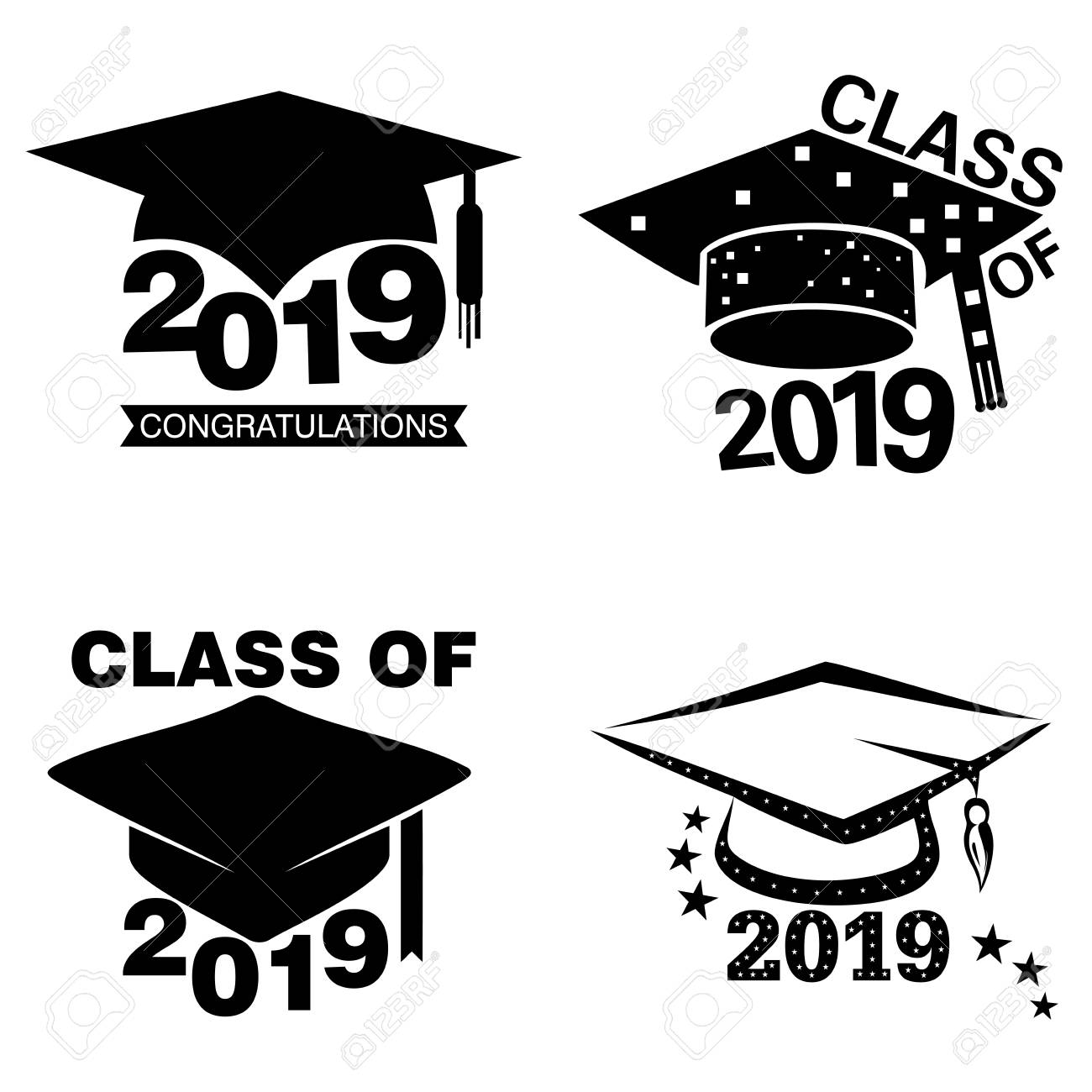 Four black and white graduation sticker or label designs on an isolated white background stock vector