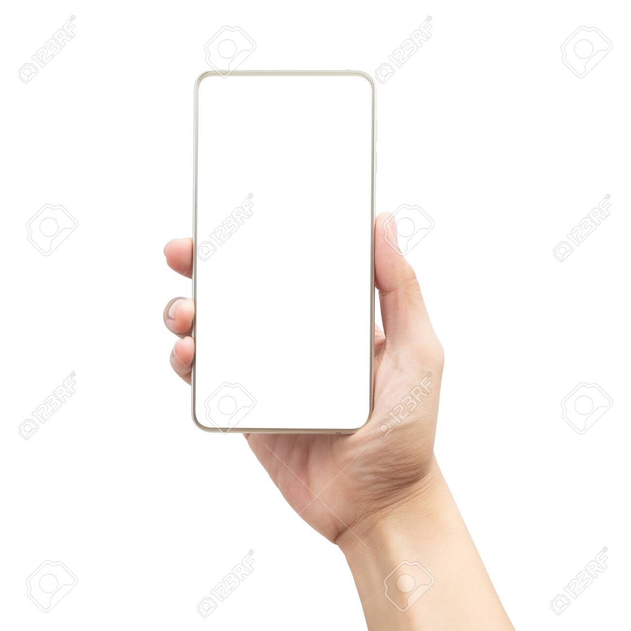 Male hand holding the gold smartphone with blank screen isolated on white background - 150278791