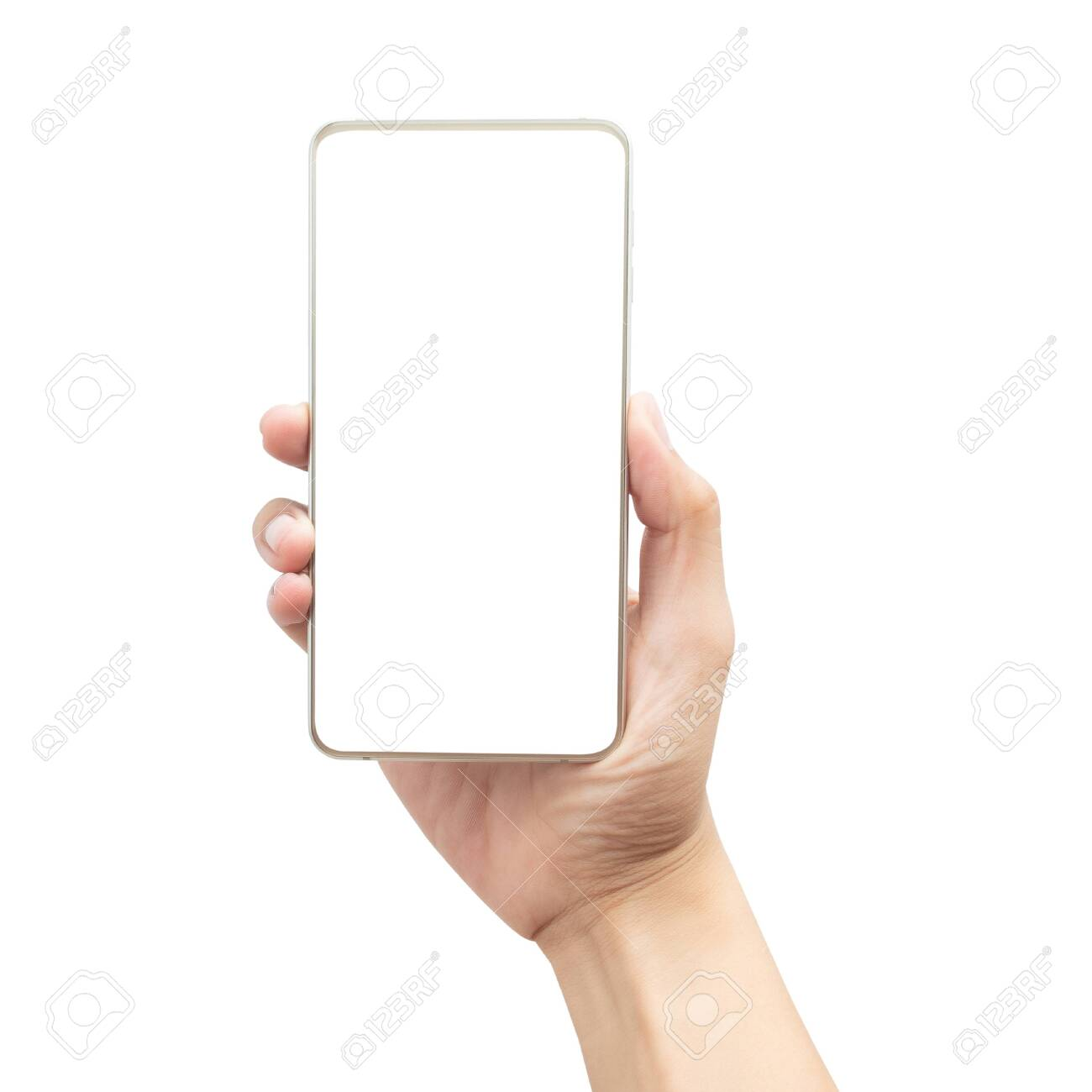 Male hand holding the gold smartphone with blank screen isolated on white background with clipping path - 145693855