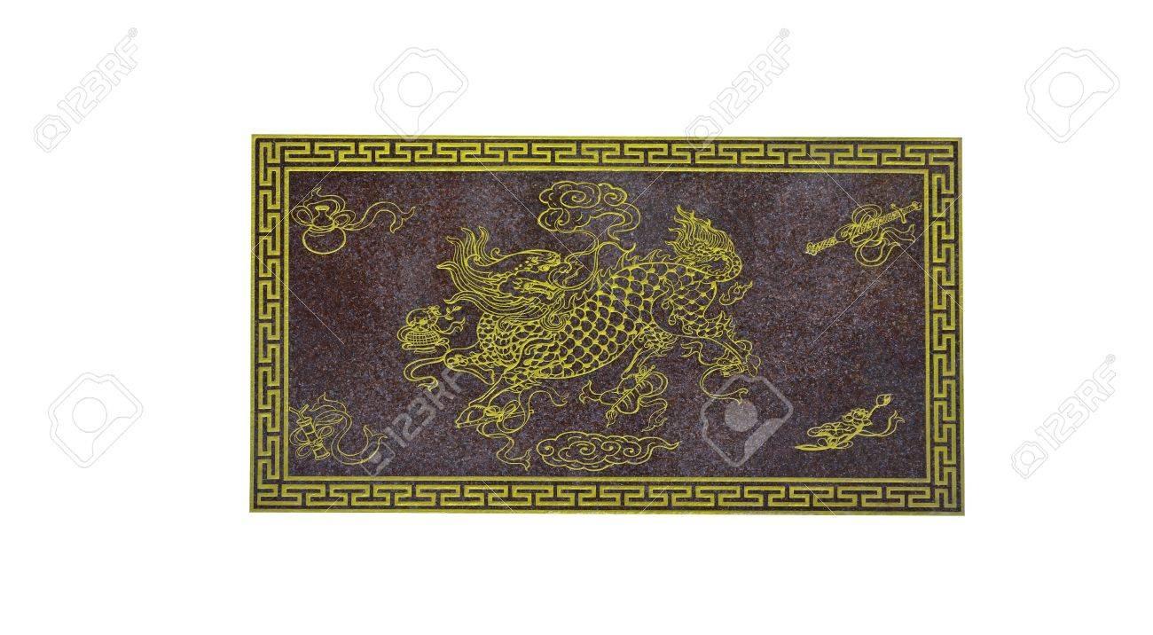 Carving-Malerei Von Dragon Köpfige Einhorn In Der Chinesischen ...