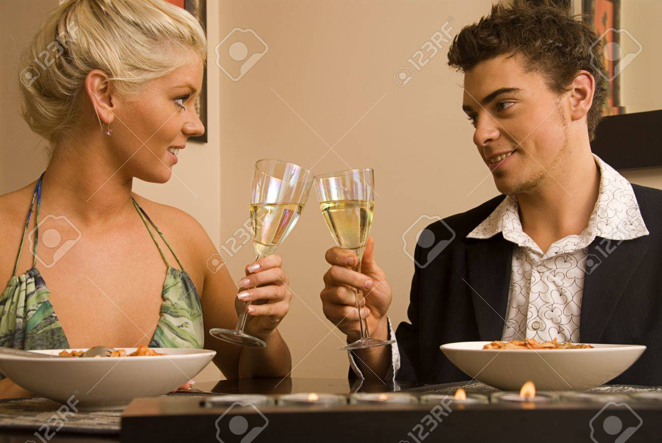 Attractive couple enjoying a meal Stock Photo - 9385813