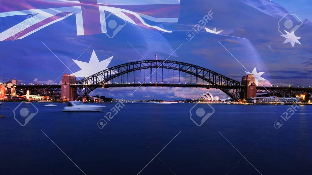 Sydney Harbour Bridge at dusk - 34678374
