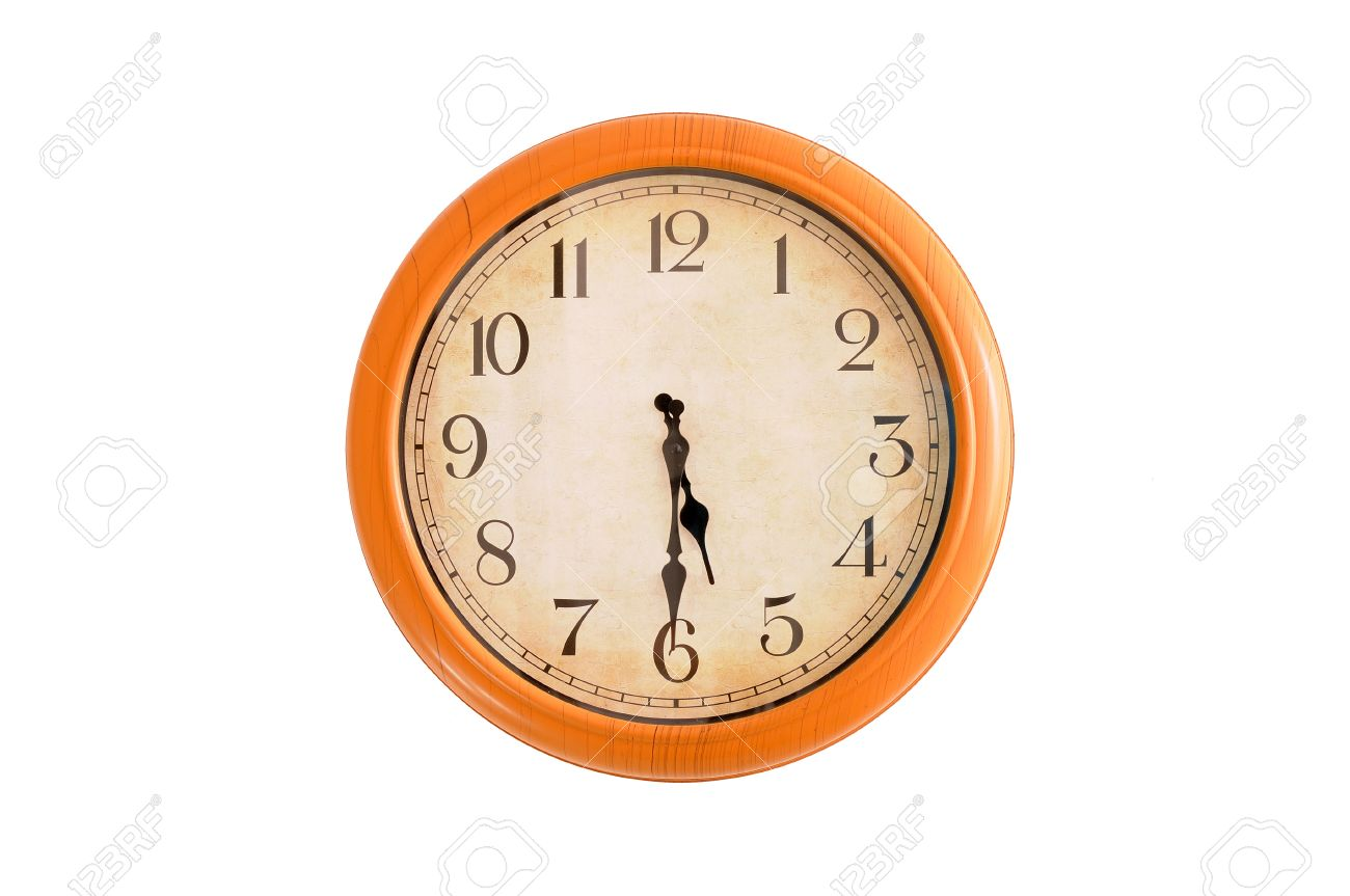 Clock showing 5 30 o clock on a white wall Stock Photo - 18875169