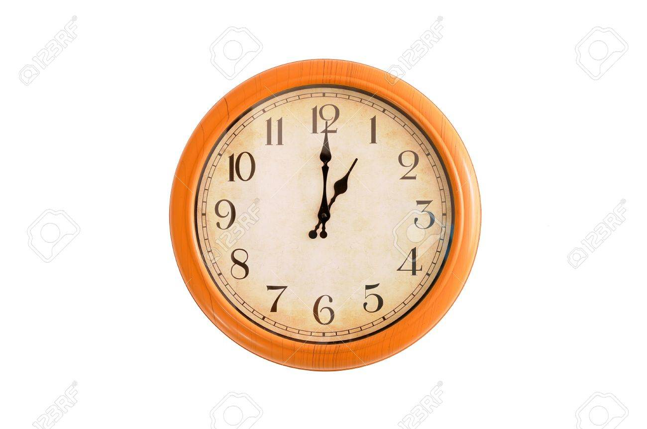Clock Showing 1 O Clock On A White Wall Stock Photo, Picture And ...