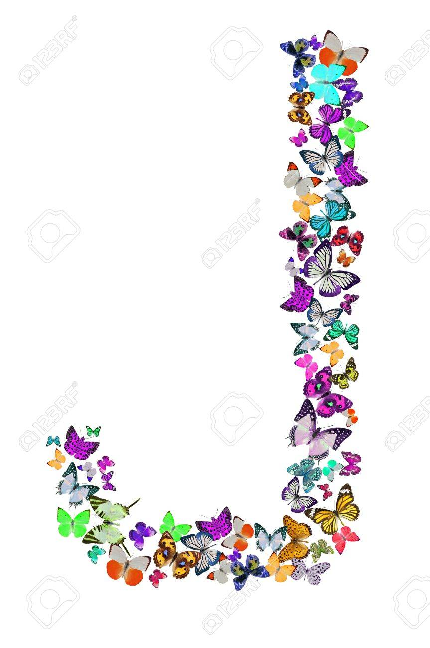 Butterfly Font In White Letter J Stock Photo   18240092
