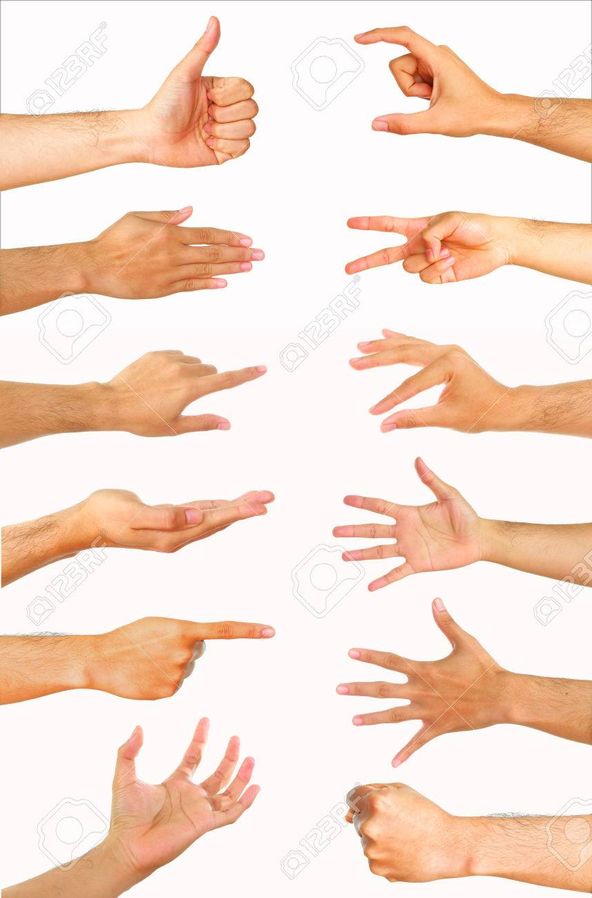 Collection of high resolution male hand gestures - 53361646