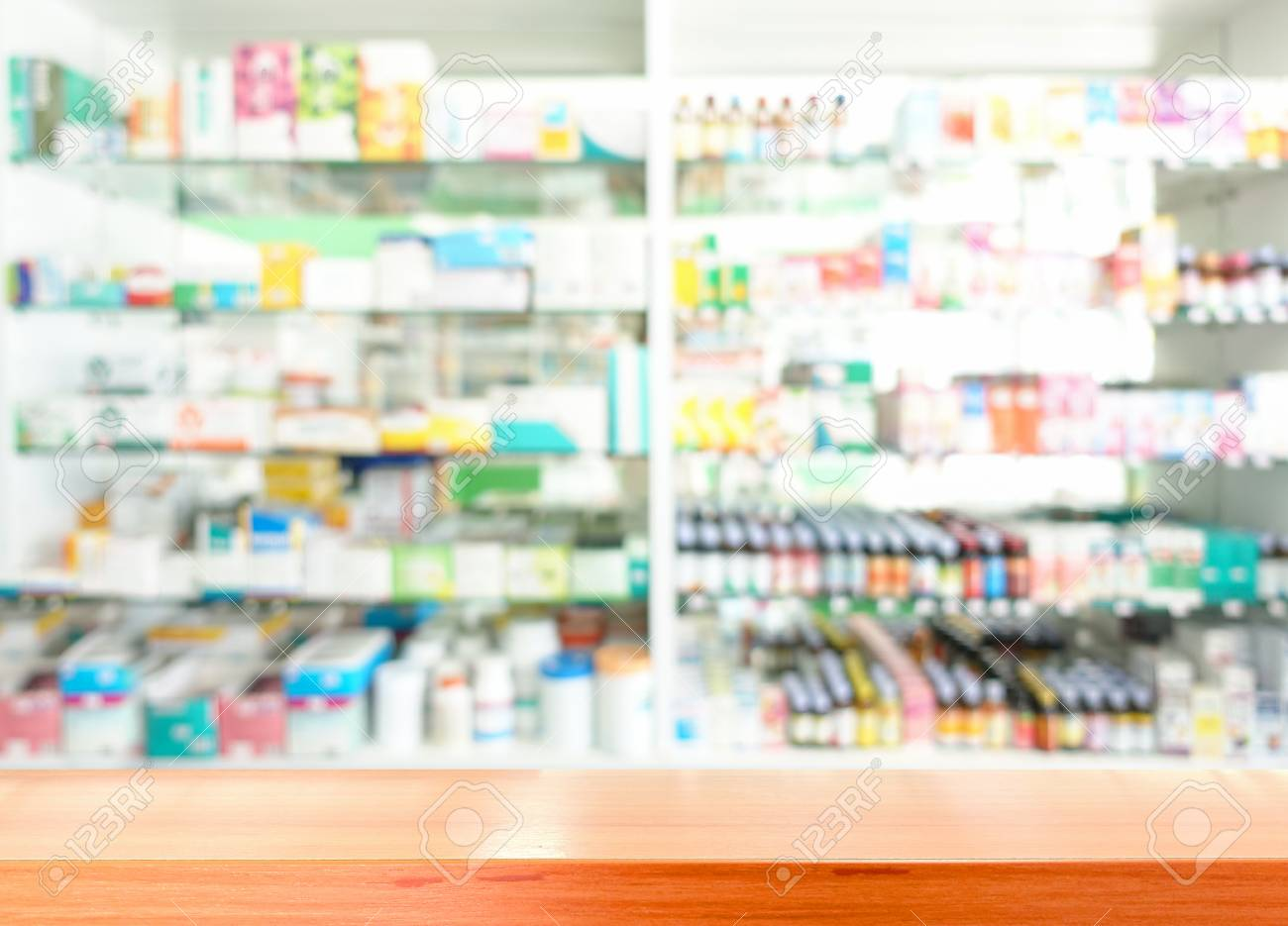 Wooden Tabletop With Blurred Of Pharmacy Shop Stock Photo Picture