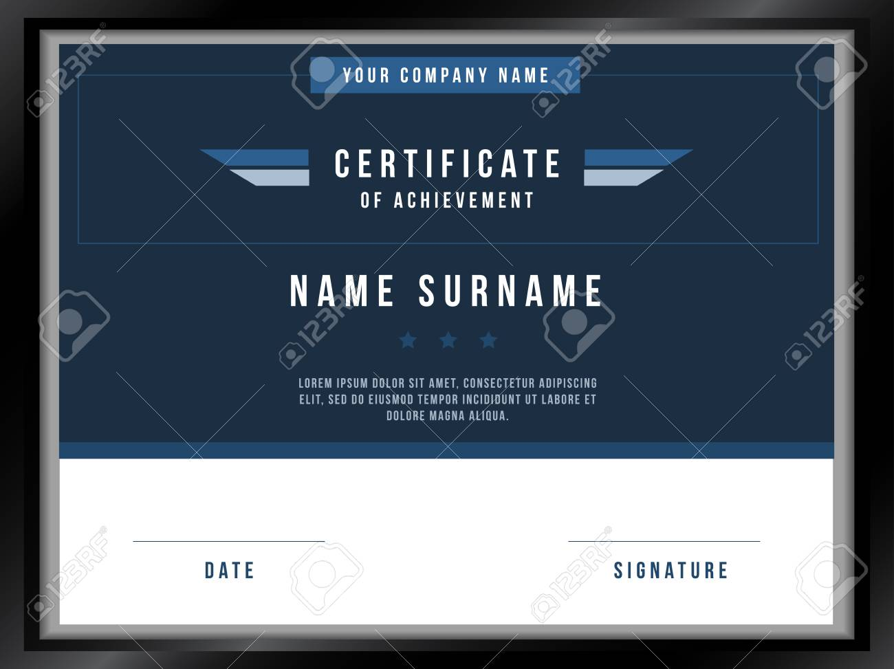 Vector Certificate Template With Premium Minimal Design Royalty Free - Electronic stock certificate template