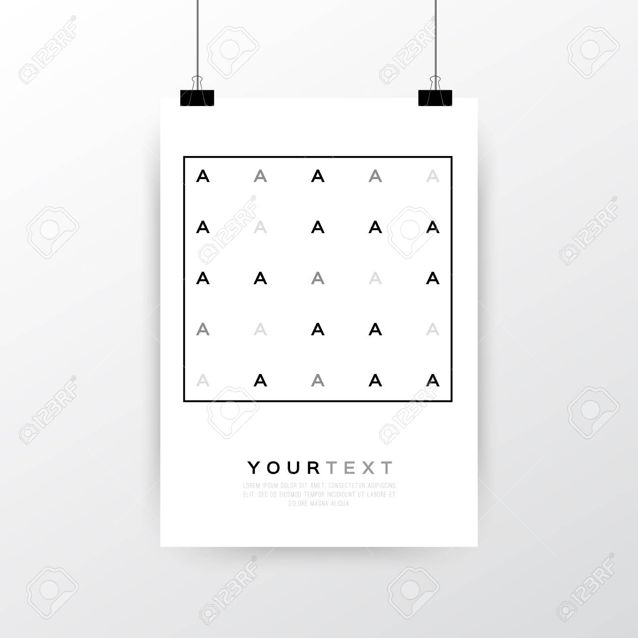 a4 a3 format poster minimal abstract letter a design with your text paper clips
