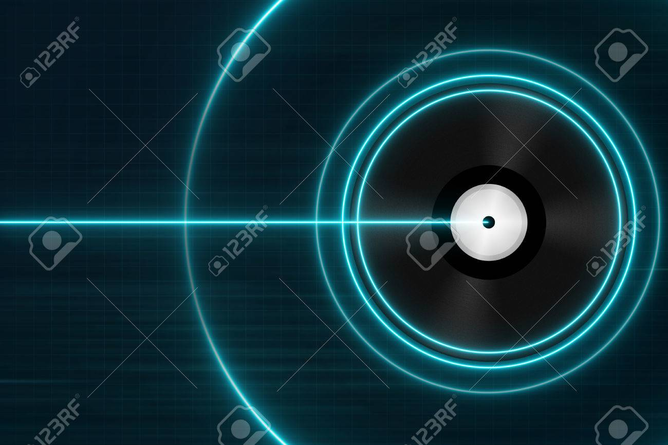 classic black vinyl records with blue light electronic music