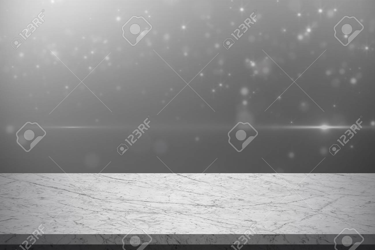 Empty Black And White Marble Table With White Glitter Light Background    Can Be Used For