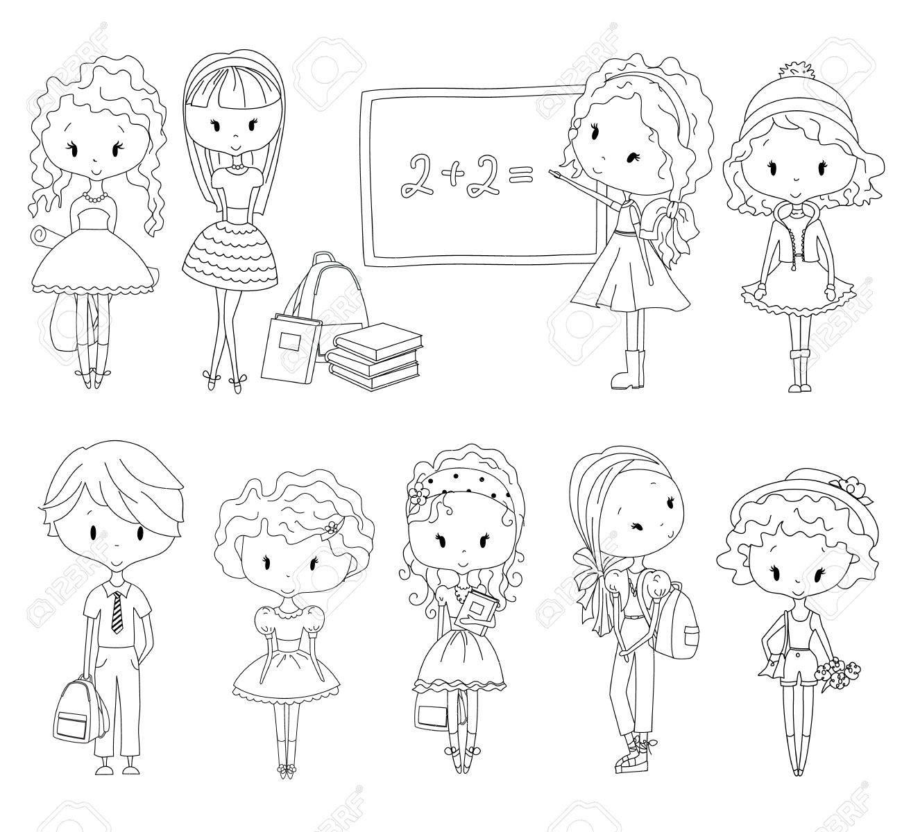 ぬりえ本瞳孔大人のぬりえの学校の子供たち女の子と男の子女子高生