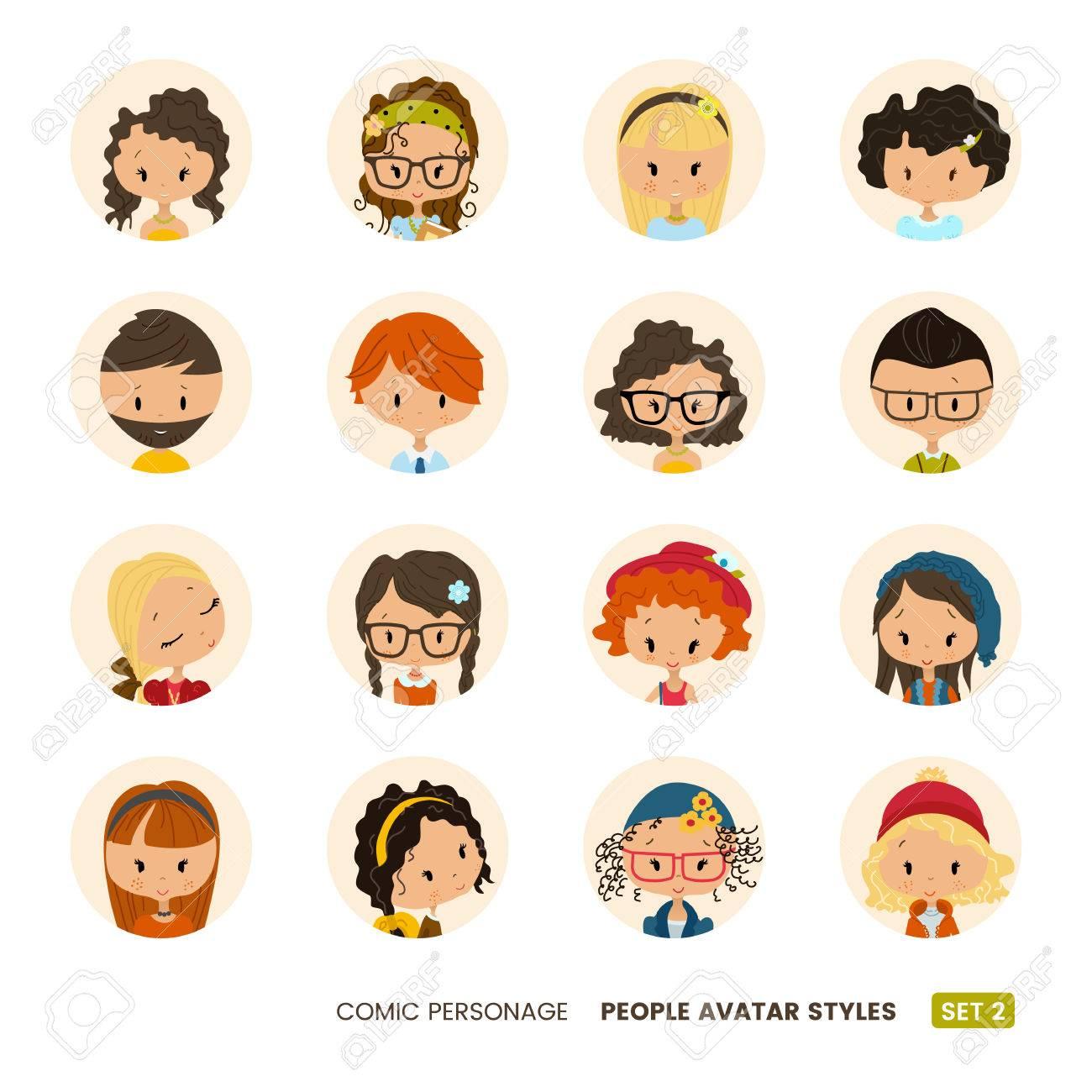 Menschen Avatare Sammlung Comic Personlichkeit Madchen Und Jungen