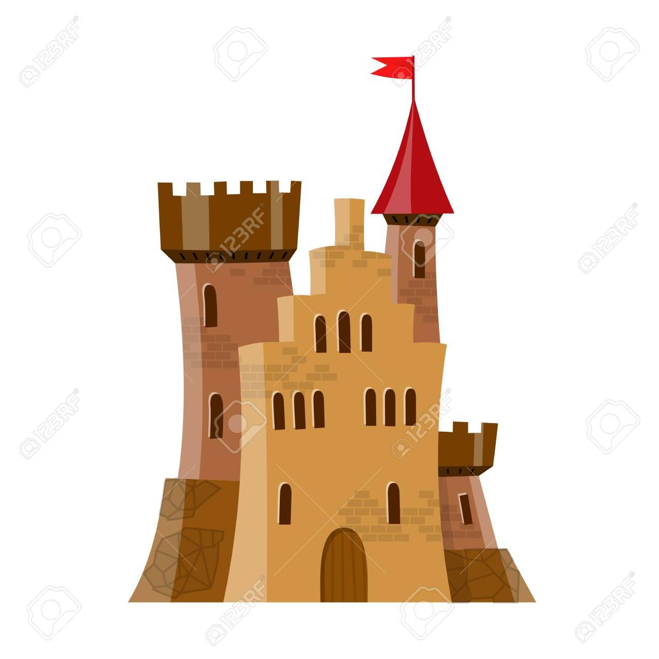 Chateau Medieval De Fee En Style Dessin Anime Clip Art Libres De Droits Vecteurs Et Illustration Image 76885651