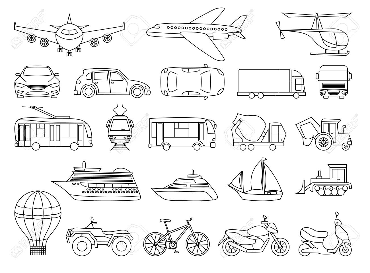 Toy Transport Set To Be Colored Coloring Book To Educate Kids Royalty Free Cliparts Vectors And Stock Illustration Image 87899294