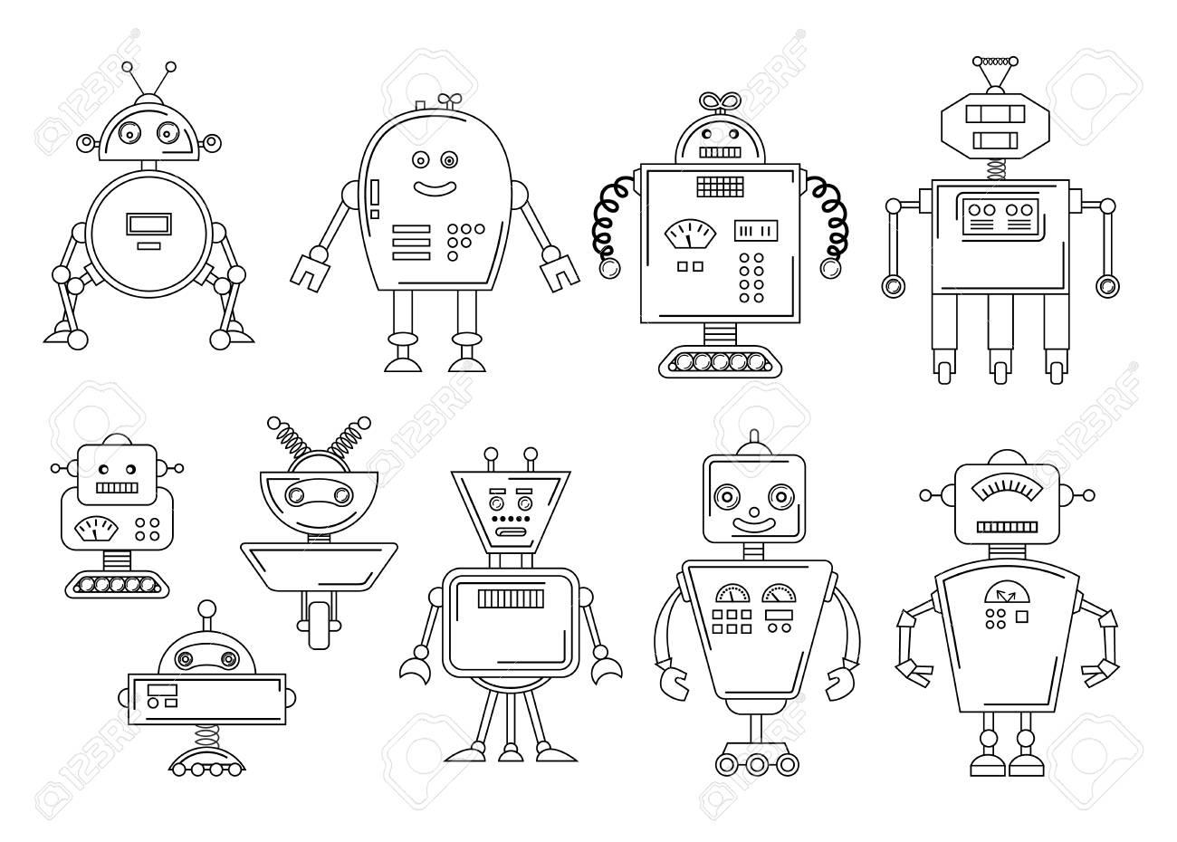 Vector Illustration Of A Robot. Mechanical Character Design ...
