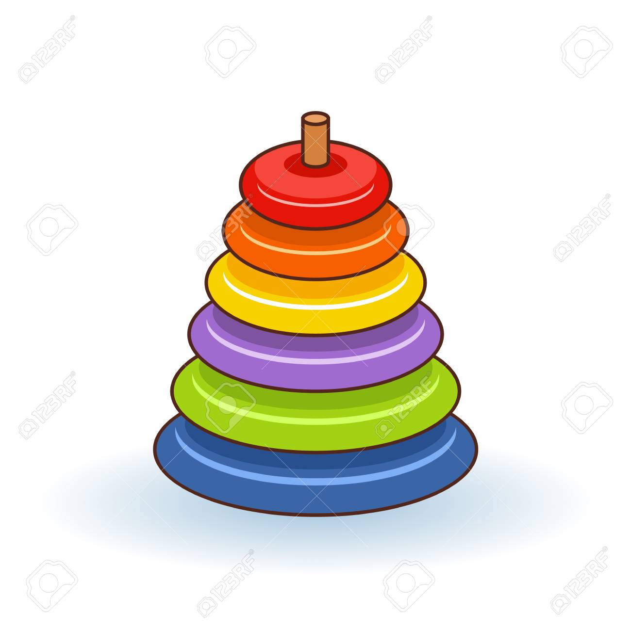 8f3771385ed3b Pyramid icon. Childrens colorful plastic toy. Rainbow color stacking..