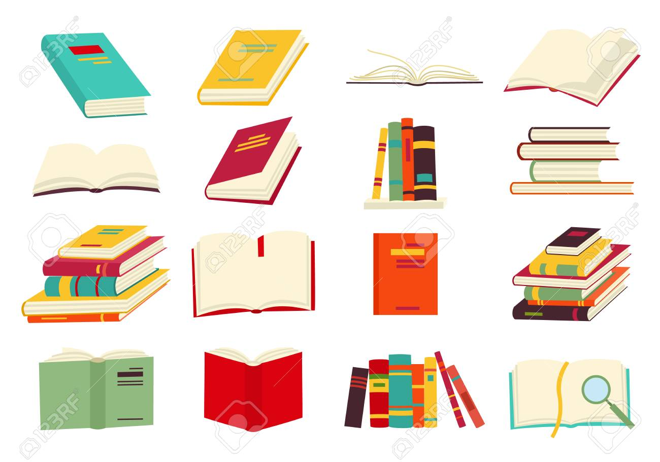 Icons of books vector set in a flat design style. Books in a stack, open, in a group, closed, on the shelf. Reading, learn and receive education through books. - 110441017