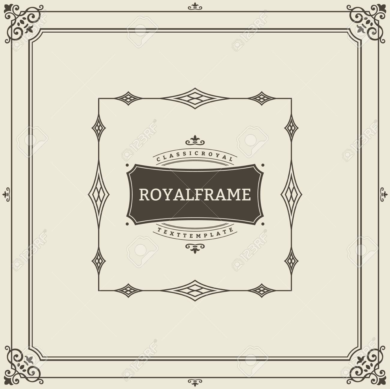 Vintage Ornament Greeting Card Vector Template. Retro Luxury Invitation, Royal Certificate. Flourishes frame. Vintage Background, Vintage Frame, Vintage Ornament, Ornaments Vector, Ornamental Frame. - 125240246