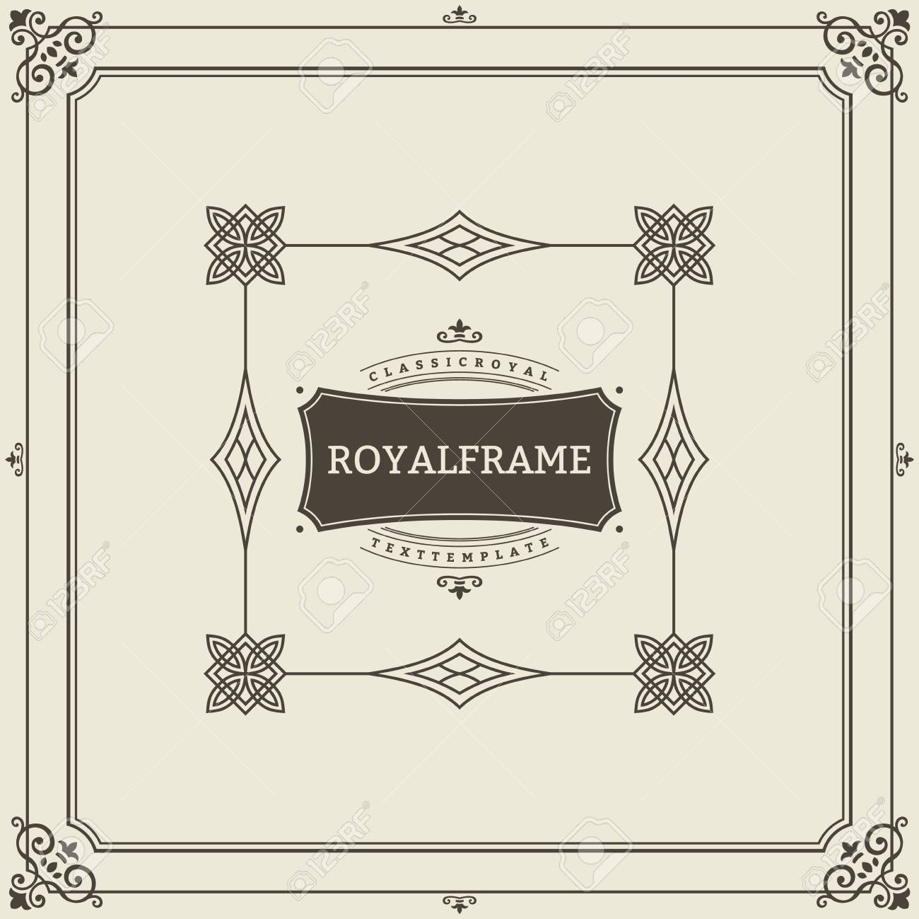 Vintage Ornament Greeting Card Vector Template. Retro Luxury Invitation, Royal Certificate. Flourishes frame. Vintage Background, Vintage Frame, Vintage Ornament, Ornaments Vector, Ornamental Frame. - 122122519
