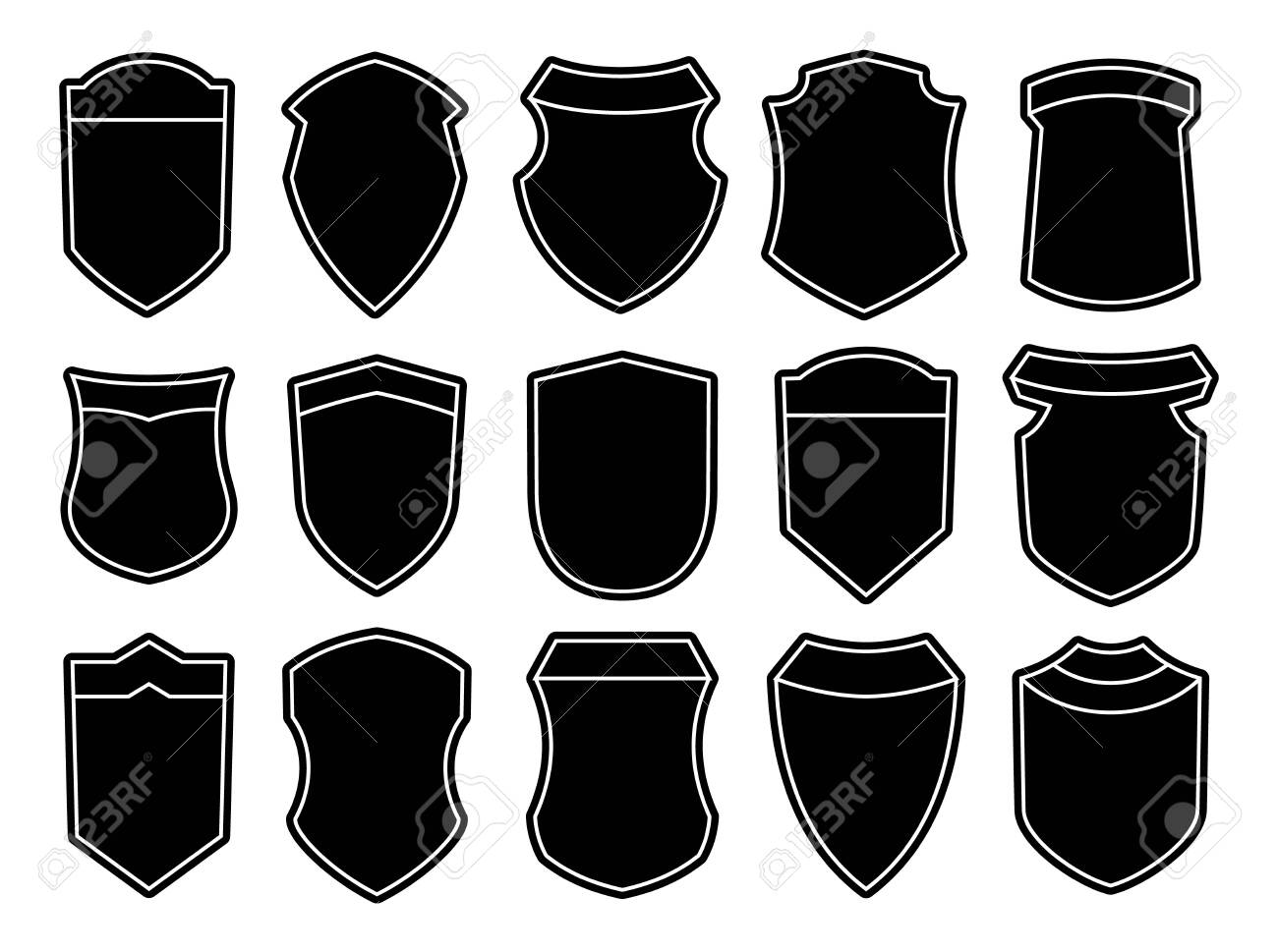 Set of blank empty dark shields. Black badge shapes. Vintage heraldic banner shapes design. Retro style borders, frames, labels - 138982164