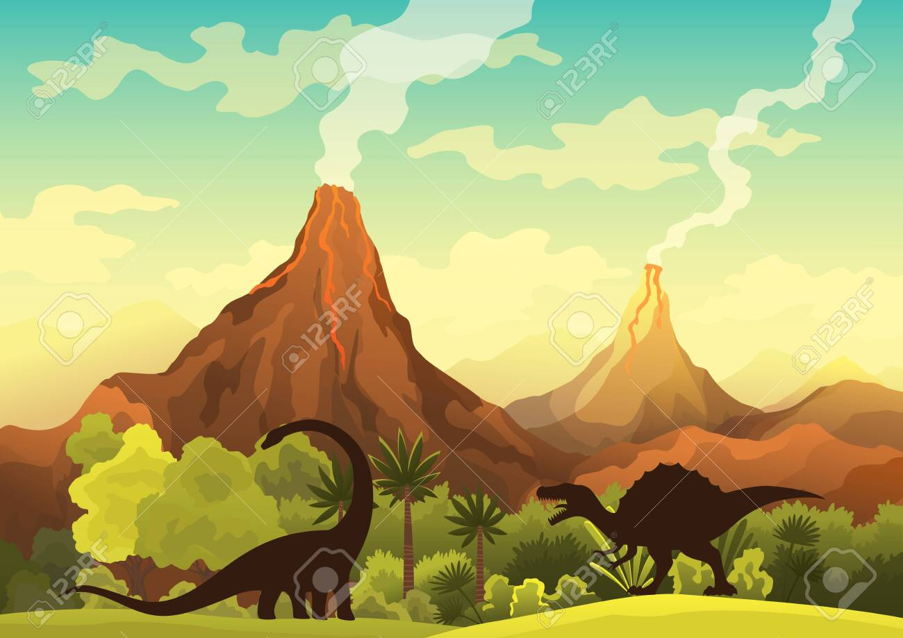 Prehistoric landscape - volcano with smoke, mountains, dinosaurs and green vegetation. Vector illustration of beautiful prehistoric landscape and dinosaurs - 147457767